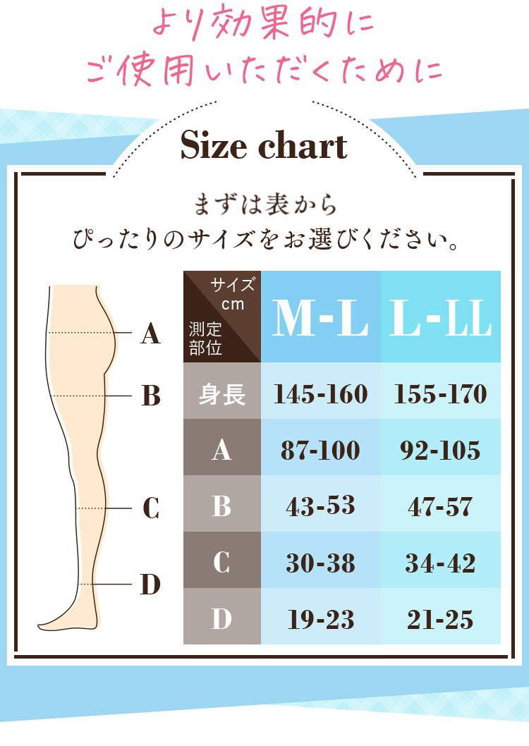 まずは表からぴったりのサイズをお選びください。